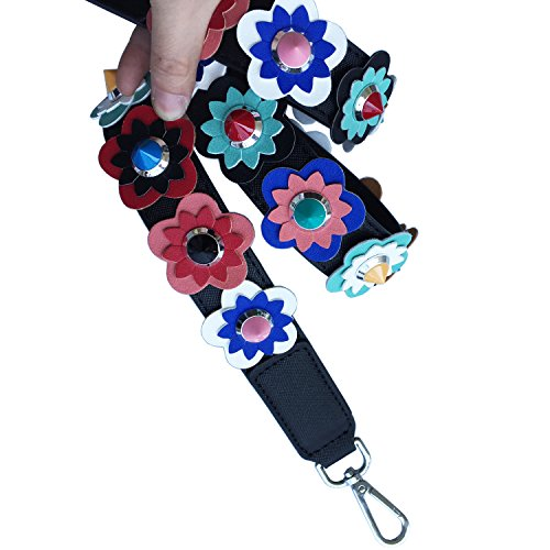 Hardware Rivet PU Bag Strap Purse Colorful Lam Leather Straps Handbags Straps Flower Black Replacement Flower Strap Gallery silver Shoulder WyqWBSUg