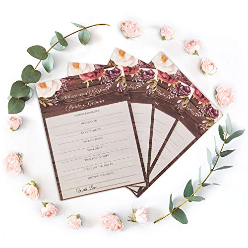 wedrose Rustic Bridal Shower Decorations - Advice Cards for The Bride and Groom. Use for Rustic Wedding Decorations || Guest Book Alternative || Wedding Reception || Wedding Games 50 pk. 4.3 x 6.7