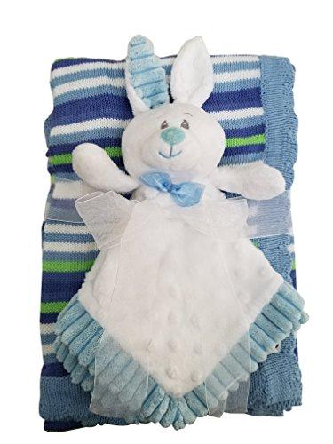 Blue Bunny Security Blanket 2 Piece Set Baby Gift Lovie Bunny Newborns on Up