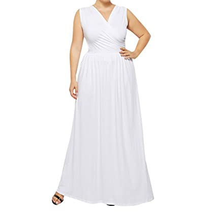 Amazon.com: Women Wrap Pleated Maxi Dress - Ladies Solid ...