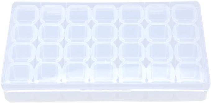 ZIJIA Ajustable de pl stico 28 Slots Cajas de Joyer a del Diamante Pintura Accesorios Contenedor Caja de Almacenamiento, Blanco Transparente: Amazon.com.mx: Herramientas y Mejoras del Hogar