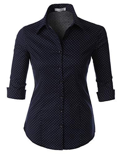 3/4 Cuff Sleeve Shirt - LE3NO Womens Polka Dots Button Down 3/4 Sleeve Tailored Shirt