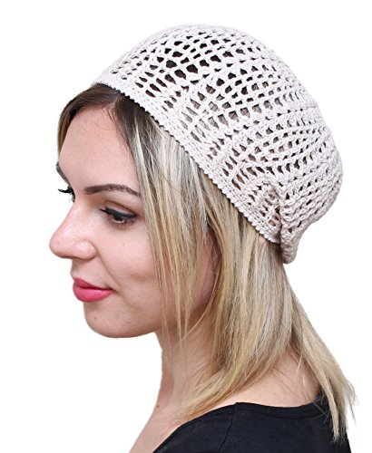 NFB Womens Beret Light Beret Slightly Slouchy Beanie Hat Cap Cable Hat Hand Knit Beret Choose Color Womens Beret Gift for her ()