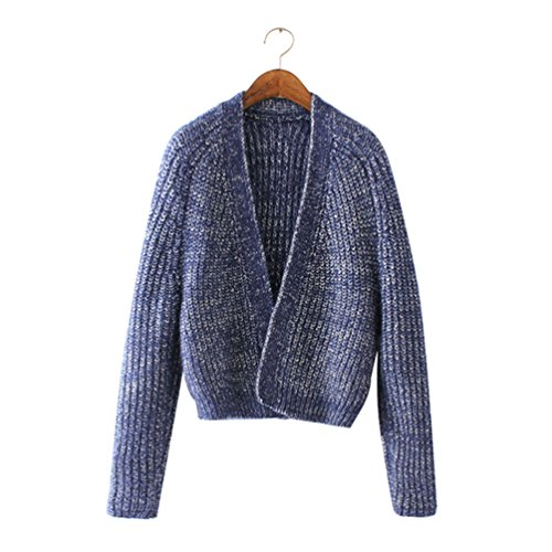 Maille Cardigan Cardigans Manches Longues en Gilets Court Chandail Tricot Jitong Marine Femme 1SwdqIIR