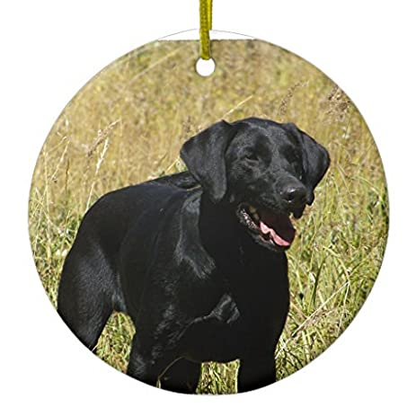 christmas decorations tree ornament black lab in field ornament circle round ornament funny xmas gifts holiday - Black Lab Christmas Decor