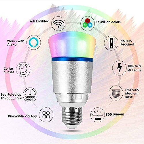 ShellBox Smart Led Bulb, Work with Amazon Alexa and Google Assistant, Phone Control, Color Tunable 10W A19 Wi-Fi Smart Bulb, 60W Equivalent by ShellBox (Image #2)