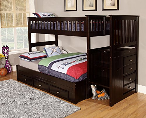 American Furniture Classics 2914-TFE Model Solid Pine Mission Staircase Twin Over Full with Seven Drawers, espresso -