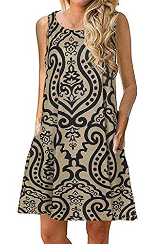 Women's Short Sleeve Summer Casual Swing Bohemian Printed Beach Dress(Khaki,S)
