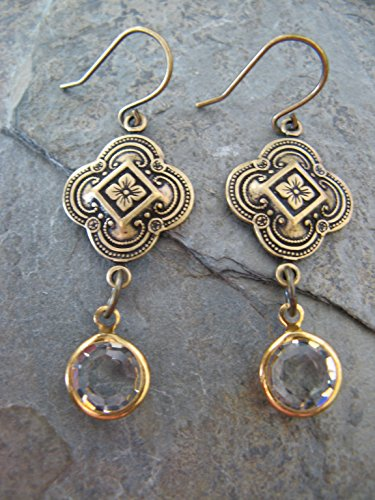 Vintage Style Brass and Czech Preciosa Crystal Dangling Earrings Artisan Jewelry
