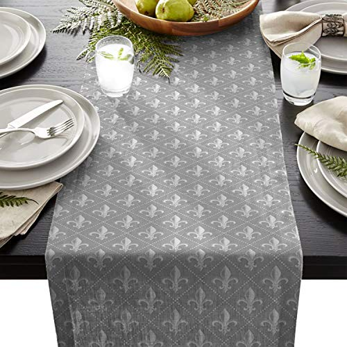 Linen Burlap Table Runner 13 x 70 Inch, Fleur De Lis Iris Damask Pattern with Vintage Geometric Diamond Lines Gray Kitchen Table Runners For Farmhouse Dinner, Holiday Parties, Wedding, Events, Decor ()