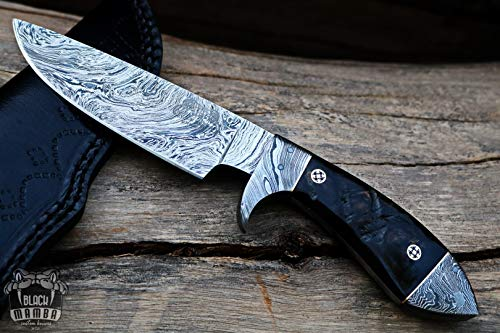 (Bmk-169 Silver Boa Snake 10 Inches Long 6 Inches Blade 14 Ounce Damascus Hunting Fixed Blade Knife Damascus Hand Made Word Class Black Mamba)