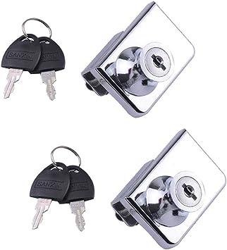 Cerradura de Puerta del Vidrio apto para puertas de cristal de 5-8 mm Cerradura de seguridad para puerta de cristal de Doble o individual apertura para gabinete llave separada sin perforaci/ón