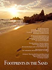 "777 Tri-Seven Entertainment FISP1 Footprints in The Sand Color Wall Poster Print Poem God Inspirational, 18"" x 24"""
