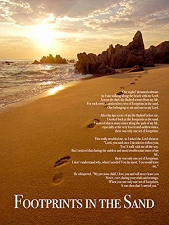 picture regarding Footprints Poem Printable titled Tri-7 Leisure Footprints inside The Sand Coloration Wall Poster Print Poem God Inspirational, 18\