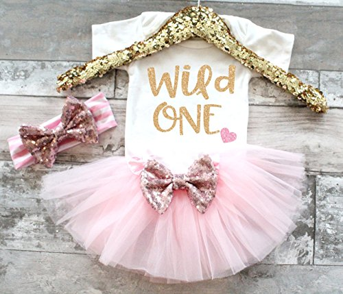 Baby Girl 1st Birthday Outfit Pink and Gold 1st Birthday Outfit Wild One 1st Birthday Outfit Birthday Tutu set First Birthday
