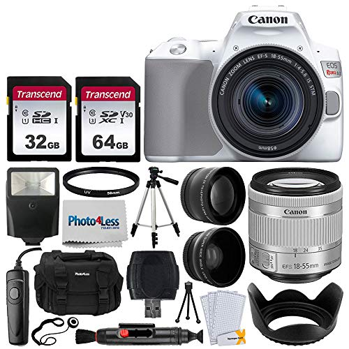 Canon EOS Rebel SL3 Digital SLR Camera (White) + EF-S 18-55mm f/4-5.6 IS STM Lens (Silver) + 58mm 2X Professional Telephoto & 58mm Wide Angle Lens + 32GB & 64GB Memory Card + Case + Tripod + Lens Hood