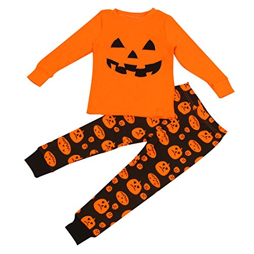 1-7Y Kids Boy Girl Pumpkin Long Sleeve Shirt Tops & Pants Halloween Clothes Set (3-4Y) -