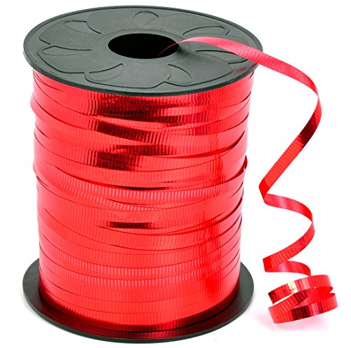 HIART Curling Ribbon, 3/16-Inch x 500-Yard, Metallic Red