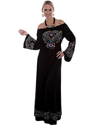 2b440fb7611 Scully Western Dress Womens Bell Sleeve Embroidery Long XL Black HC332 at Amazon  Women s Clothing store