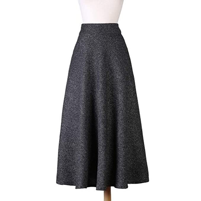 d41cfdfbf Nantersan Women's Solid Color Wool Skirt High Waist Skirts for Ladies  A-line Full Length Skirt Casual Retro Thicken Fall Winter