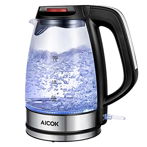 Aicok Glass Electric Kettle 1.7L Fast Water Kettle Premium Strix Thermostat Control Kettle LED Indicator Light Cordless Kettle, Auto Shut Off With Boil Dry Protection FDA Certified Tea Kettle, (Childs Boiler Suit)