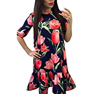 Clearance Women Dresses On Sale Floral Printed Cocktail Party Evening Midi Dress Beach Sundress for Summer