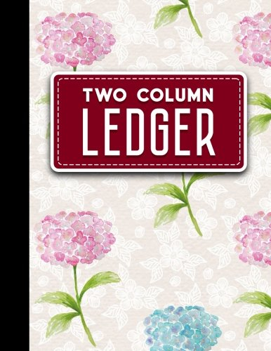 Two Column Ledger: Accountant Notepad, Accounting Paper, Ledger Notebook, Hydrangea Flower Cover, 8.5