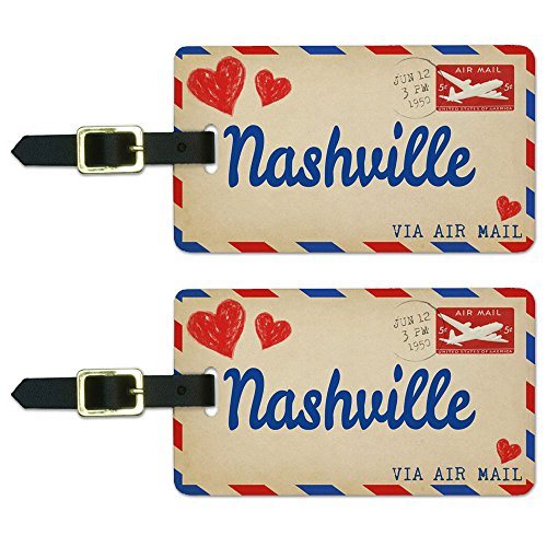 Graphics & More Air Mail Postcard Love for Nashville Luggage Suitcase Carry-on Id Tags, White
