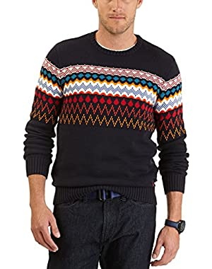 Mens Classic Fair Isle Crewneck Sweater Navy Blue Cotton Pullover