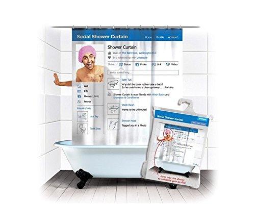 Rideau de douche 'ré seau social' 180x180 cm avec une fenê tre transparente pour votre avatar - MWS1472