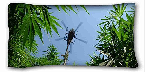 "Generic Personalized (Nature Plants Marijuana Weed Ganja Helicopter f) Pillowcase Cover 20""X36"" One Side Suitable for X-Long Twin-Bed PC-Red-25155"