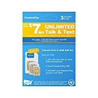 FreedomPop Less than $7/month, 3-Month Prepaid Plan - 3-in-1 LTE SIM Kit - Unlimited Talk, Text, 1GB Data