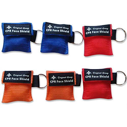 (50-Pack CPR Masks Keychain Ring Emergency Kit CPR Face Shields - Mini Portable CPR Pocket Rescue Mask with One-way Valve Breathing Barrier for First Aid or AED)