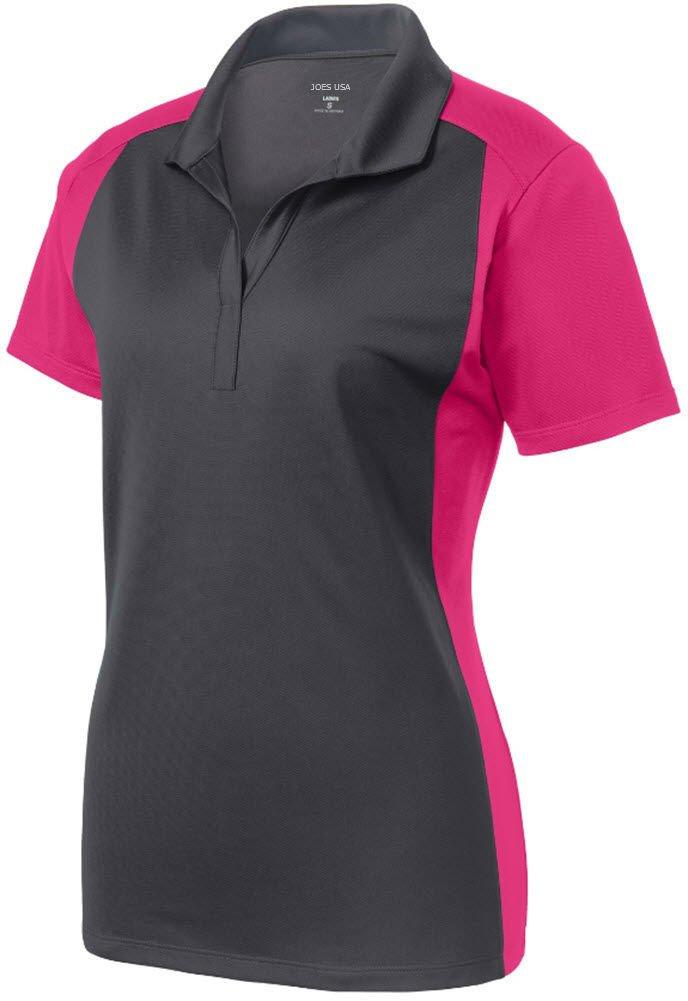 Joe's USA tm Ladies Moisture Wicking Micropique Polo Shirt-Pink-L