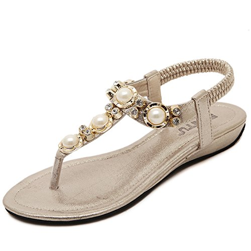 Cystyle Women's Bohemia Flower Beads Rhinestone Elastic T-Strap Clip Round Toe Summer Beach Post Sandals Anti Skid Flip Flops Flat Slippers Thongs Gold SrLAntq2hd