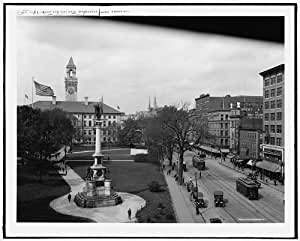 Photo: Common,City Hall,Front Street,monuments,memorials,Worcester,Massachusetts,c1910