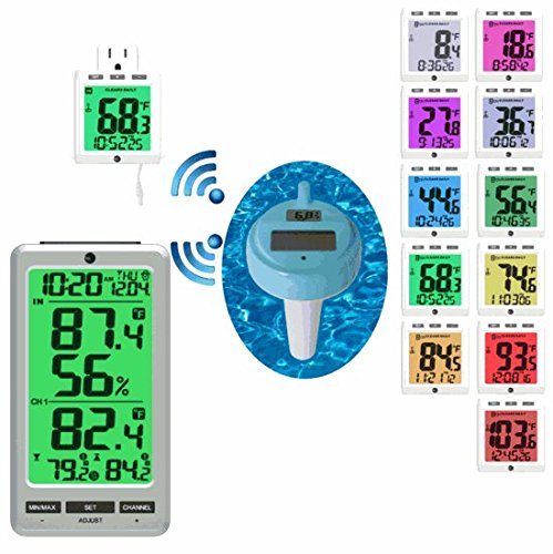 Ambient Weather WS-01T-F007PF-24C Wireless 8-Channel Floating Pool and Spa Thermometer with Color Changing Night Light by Ambient Weather