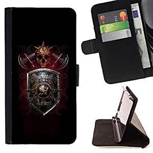 DEVIL CASE - FOR Samsung Galaxy S5 Mini, SM-G800 - Shield Axe Game Viking Warrior Skull - Style PU Leather Case Wallet Flip Stand Flap Closure Cover
