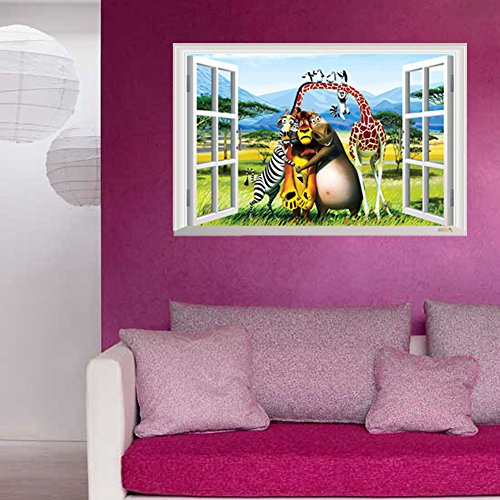Fange DIY Removable Madagascar 3D Window View Art Mural Vinyl Waterproof Wall Stickers Kids Room Decor Nursery Decal Sticker Wallpaper 35.4''x23.6''