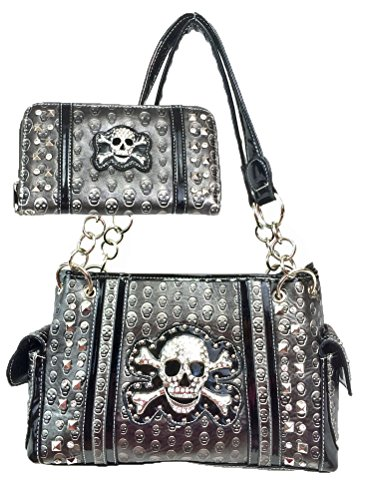 Conceal and Carry Purse with Matching Wallet Set for Biker Women Pewter
