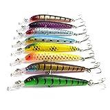 Aorace 8 pcs/Lot Plastic Minnow Fishing Lures Baits Bass Crankbaits Tackle Tooles Artificial Bait Hard Lure Fish Wobbler Pesca Swimbait 10cm 6.8G