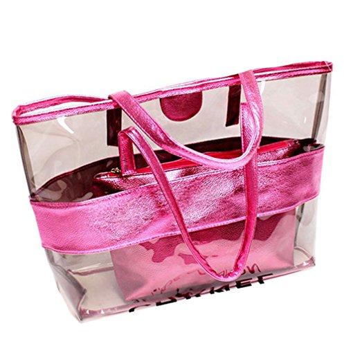 KARRESLY 2 In 1 Clear Shoulder Bag PVC Waterproof Travel Bag Beach Handbag Gym Sports Cosmetic Tote Bag Purse(pink)