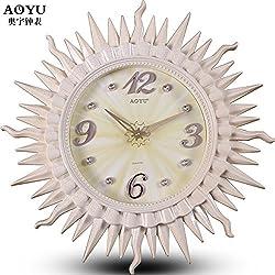 CGGHY 20-Inch (50.5 Cm In Diameter) European-Style Wall Clock Simple Artistic Quiet Quartz Watch Watch Creative Living Room Modern Clock Beige