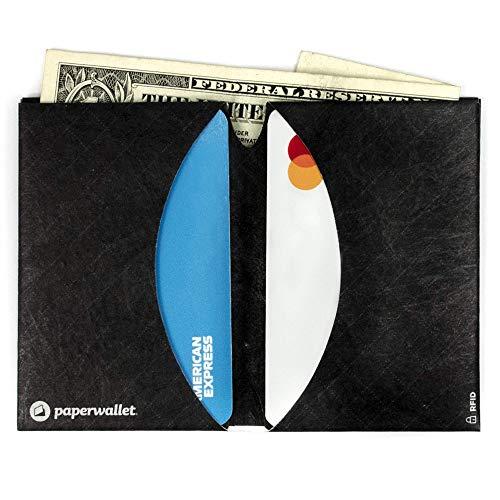 Paperwallet - Minimalist Micro Ultra Thin Bifold Front Pocket Wallet RFID Blocking (Black Grid)