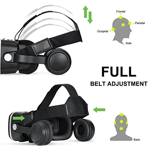 3D VR Glasses, HAMSWAN 3D VR Goggles VR Headset Virtual Reality Goggles Headset Glasses with Built-in Headset, Unique Design and Multifunction Button Compatible with Smartphones within 4.0-6.0 inch by HAMSWAN (Image #6)