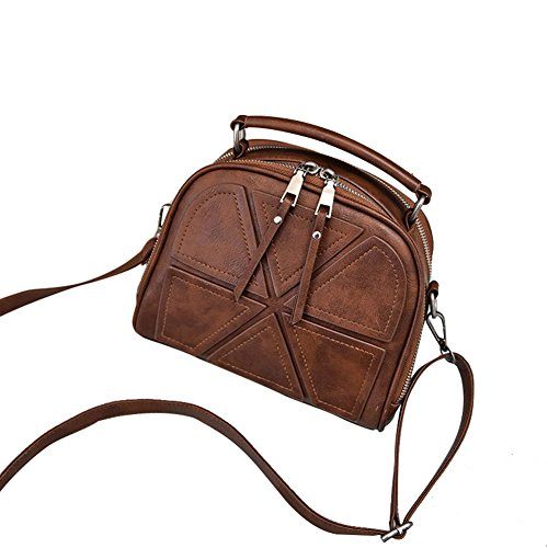 Espeedy Fashion Handbags Leather Solid Block Joint Zipped Shoulder Bag Messenger Bag Ladies For Shopping Trips Brown