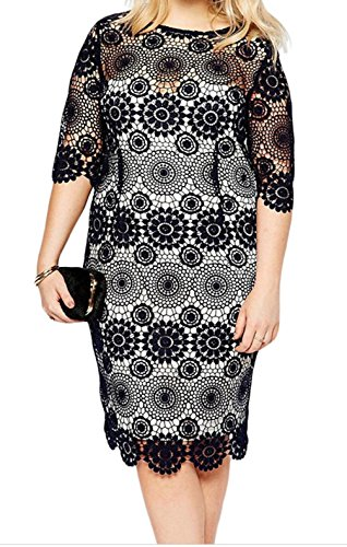 PEGGYNCO-Womens-Plus-Size-Black-Lace-Crochet-Sleeved-Pencil-Dress
