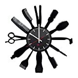 Barber Shop Handmade Vinyl Wall Clock – Get Unique Home Room or Office Wall Decor – Gift Ideas for Girls and Women – Barber Shop Supplies Unique Modern Art
