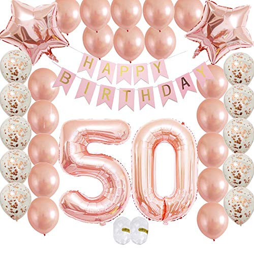 Rose Gold 50th Birthday Decorations Kit-Confetti Latex Balloon|Happy Birthday Rose Gold Banner for Women,Men'Wedding Anniversary Bday Party Supplies as Gift
