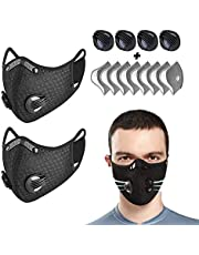 2 Pcs Reusable Sports Veils Anti Haze for Adults, Unisex Face Shield with 8 Replaceable Activated Carbon Filters and 4 Breathing Valves for Woodworking Mowing Running and Cycling